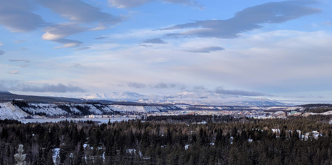 A photo of Whitehorse taken from the lookout on the road to Miles Canyon