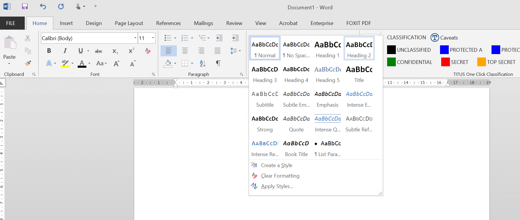 A screenshot of Microsoft Word 2013 showing the expanded Styles panel.