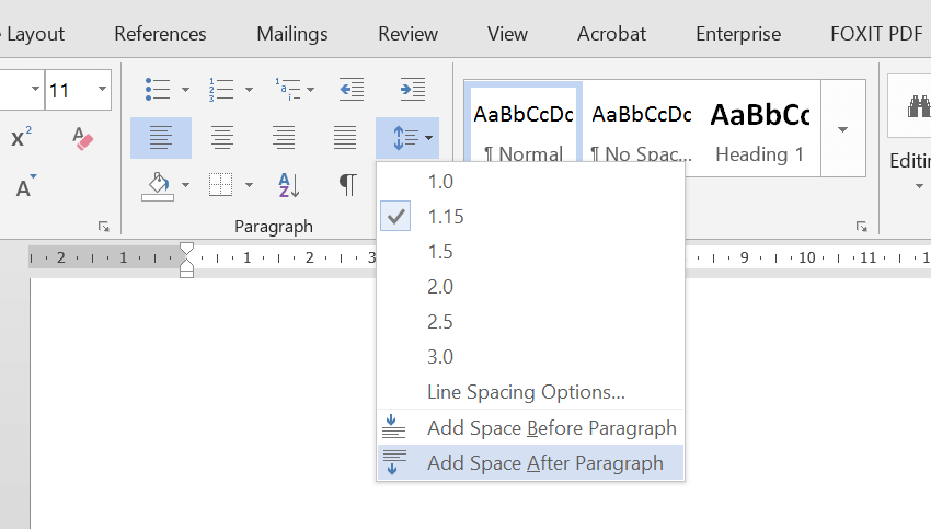 "A screenshot of Microsoft Word 2013, with the Line Spacing dropdown open and ""Add Space After Paragraph"" selected."