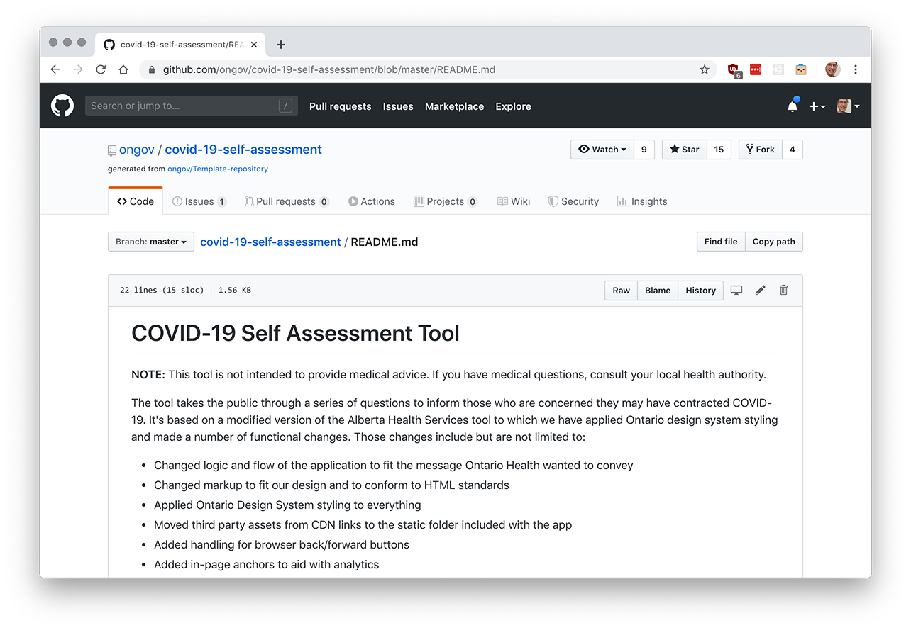 A screenshot of the Government of Ontario's COVID-19 online self-assessment tool source codeon GitHub, with a thanks to Alberta Health Services included in the Readme file.