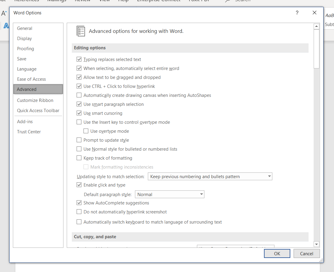 "A screenshot of Microsoft Word's ""Word Options"" window, with the ""Advanced"" tab selected."