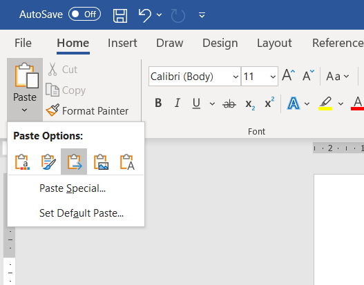 "A screenshot of Microsoft Word, with the Paste Options menu open and ""Merge Formatting"" selected."
